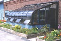 National Gardening's attached greenhouse is also the main entrance.