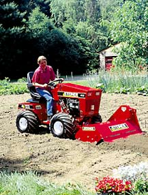Lawn tractors come with many attachments such as tillers.
