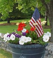 This faux clay pot was planted for Memorial Day.