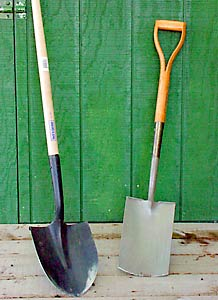Shovels (left) and spades are both useful garden tools