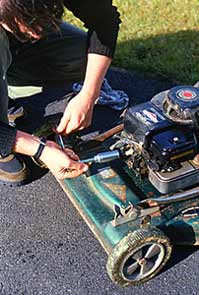 In Fall, remove your mower's spark plug and pour an ounce of oil into the cylinder.