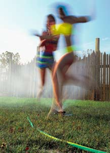 Where lawns and gardens need extra water only occasionally, portable sprinklers are the answer. Besides, they're fun!