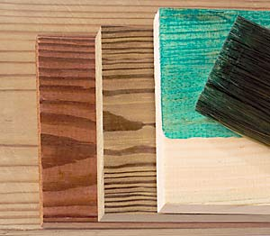 The four most common wood preservatives, left to right: CCA, CDDC, ACQ, and copper naphthenate.