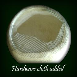 Hardware cloth added to extend rim