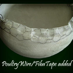 Poultry wire and FibaTape added to rim