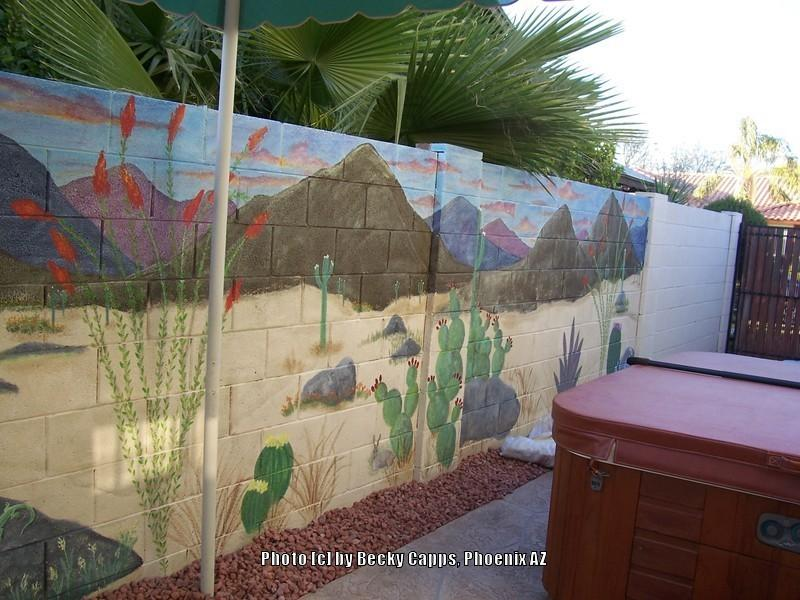 Garden art forum garden murals cont 39 d for Desert wall mural