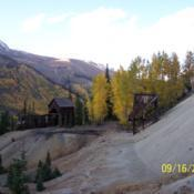 Location: old mine site near the Million Dollar Highway - Ouray Co., ColoradoDate: 2006-09-16Aspen leaves (yellow) changing colors for fall.
